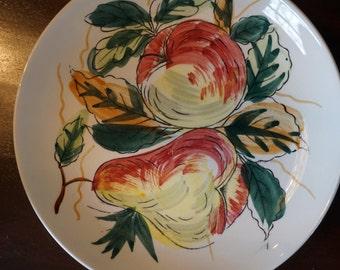 12 Vintage Hand Painted Dessert Plates/ Salad Plates/ Fruit Design/ Pears/ Apples/ Set of 12