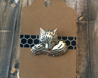 Sleeping Fox Lapel Pin - Large - Silver Tone - Tack Backing with Clutch Clasp