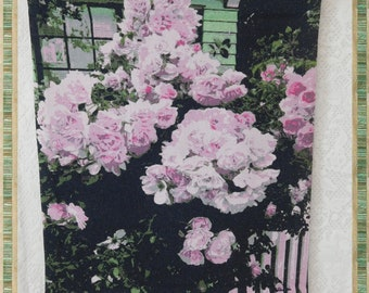 Tapestry Wall Hanging Small Size 11 X 13, Pink Roses on the Fence Hand Created Watercolor Photo Art, Wall Art, Fabric, Original Design, ECS