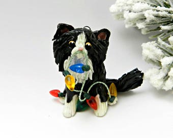 Cat Persian Black White Christmas Ornament Figurine Porcelain Lights