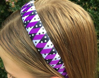 Purple White Black Polka Dot Woven Grosgrain Ribbon Headband