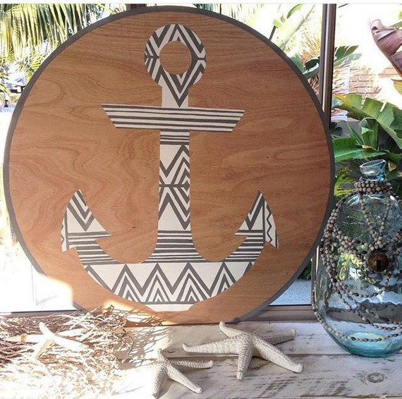 Anchor Round Wall Art, Grey & White Tribal Design, 90cm Timber Porthole