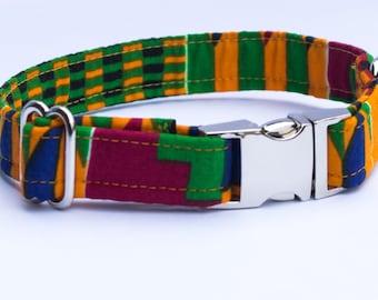 African Kente Print/Ethnic Fabric Adjustable Dog Collar/Puppy Collar/Small Dog Collar/Pretty Dog Collars/Unusual Dog Collars