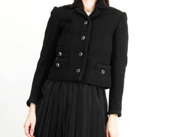 Vintage Black Short Classic Jacket / Wool Jacket / Wool Blazer / Elegant Jacket / Boho Chic  Jacket / Size XS