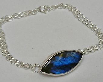 Sterling silver handmade marquise labradorite chain bracelet, hallmarked in Edinburgh