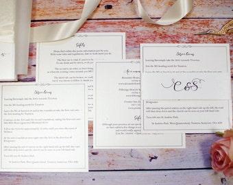 Wedding Invitation Additional information sheets