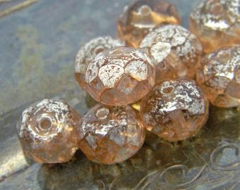 Glitter Peach (10) -Czech Glass Rondelles 8x6mm