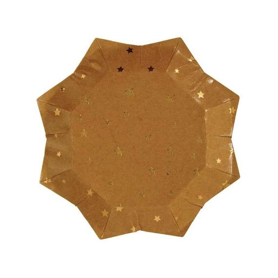 Kraft Paper Plates with Gold Stars (set of 8), Meri Meri Rustic ...