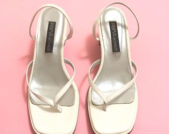White strappy thong sandals 7