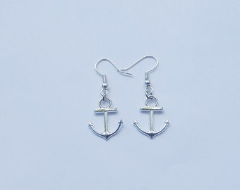 Anchor Earrings, Silver Anchor Earrings, Anchor Charms, Anchor Jewelry, Nautical Earrings, Beach Earrings, Charm Earrings, Anchors, Beach