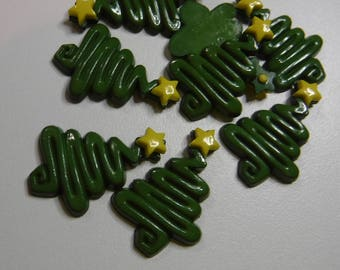 """12 Olive Green Tree with Yellow Flat Back Buttons Size 3/4"""""""