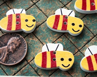 25 Bees, colorful wood buttons, 2 hole, red, yellow, sewing, crafts, colorful, scrapbooking, maker, whimsical bumblebee