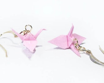 "Origami Crane earrings Miniature 3/4""   -  Light  Pink  Paper Crane Earrings Solid Color"