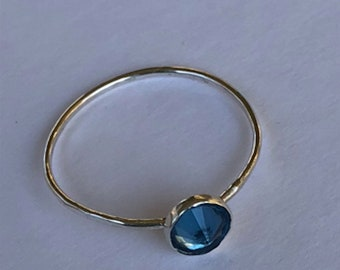 Faceted Blue Topaz Sterling Silver Ring