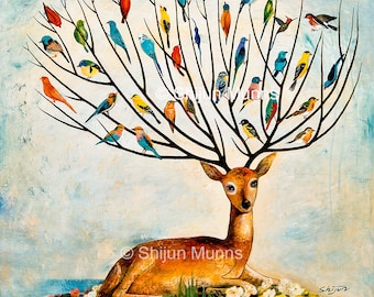 Tree of life-joy of tree-gift-Fantasy wall art-Oil painting print-birds in tree-colorful birds-deer-fawn-nature