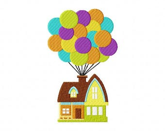 Balloon house up embroidery design