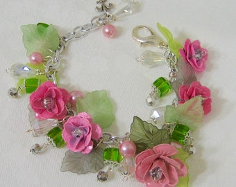 Springtime In Paris Charm Bracelet French Bracelet Charm Bracelet Statement Bracelet Cha Cha Bracelet Pink Roses Crystal Silver Bridal