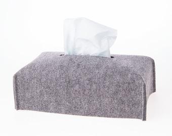 Tissue box cover rectangular, fabric tissue box holder, felt kleenex, grey napkin holder, storage box, gift for mom, room decor, dad gift