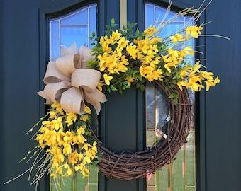 Forsythia Wreath ~ Spring Wreath ~ Summer Wreath ~ Front Door Wreath ~ Farmhouse Wreath ~ Forsythia Wreath for Front Dooor