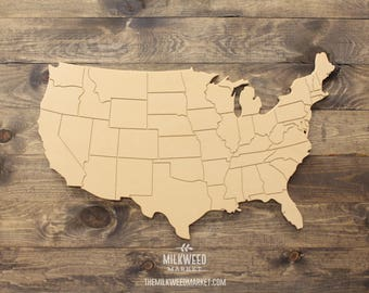 Engraved USA States Map Cutout Sign