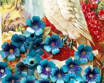 Forget Me Not beads, Vintage Enamel Flower Beads, vintage flower Cabochons, Enamel beads, blue beads,Blue Spacer beads, Metal Jackets,#1708