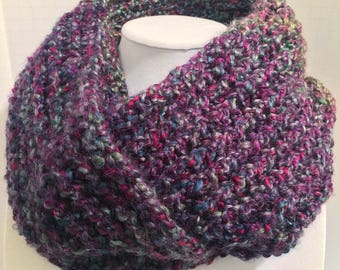 Mystical Stripes Infinity Scarf - Handmade - Knitted - Lion Brand Homespun