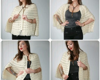 70's Vintage Cream Knit Button Front Boho Bohemian Cape Shawl with Fringe