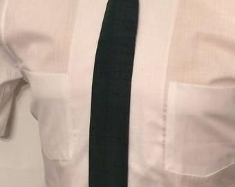 Vintage MENS Rooster dark green square cut silk skinny tie, circa 1950s-60s
