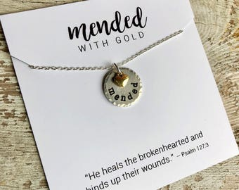 mended circle necklace - inspirational word jewelry - simple necklace - Love Squared Designs