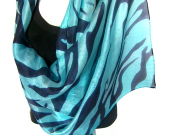 "Hand Painted Silk Scarf, Zebra Pattern, Animal Pattern, Black Light Turquoise Blue, 71"" x 18"", Gift For Her"