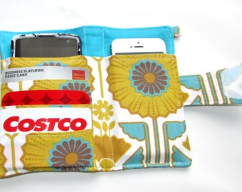 Cellphone Wallet, iPhone Wallet, iPod Wallet, Phone Wallet, Loyalty Card, Case, Business Card organizer, Smart Phone Wallet, Sunflower