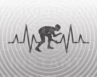 Heartbeat EKG Wrestling SVG File,Wrestler SVG File -Commercial & Personal Use- Cricut,Silhouette Cameo,Heat Transfer Vinyl,Vinyl Decal