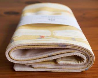 Yellow Baby Burp Cloths; Pretty Organic Cotton Burping Pads; Handmade, Woodland Baby Shower Gift for Baby Girl, Nursing Mom; Tree Stripe Sun