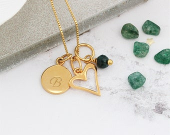 May Birthstone – Gold Heart Necklace - Childrens Jewellery – Gift for Kids – Christening Gift – Flower Girl Gift - Personalised Necklace
