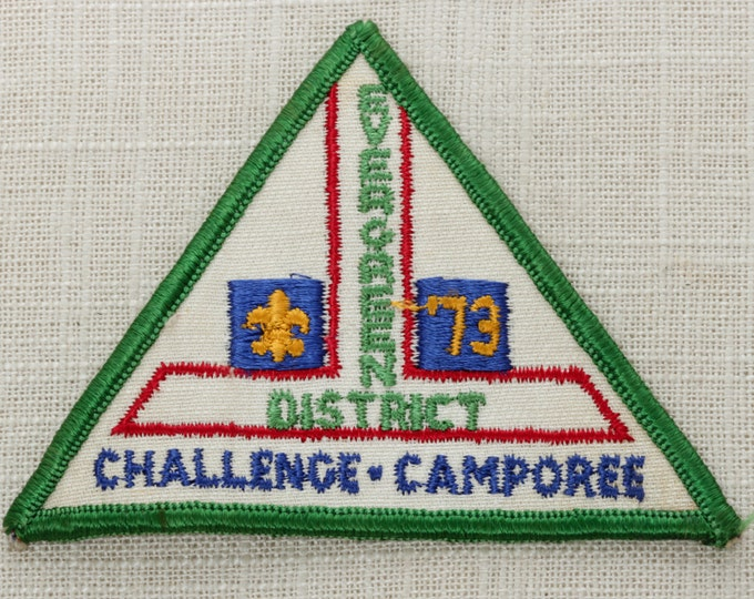 Vintage Triangle Patch | Evergreen District Boy Scouts of America Triangle Vintage Sew On Patch | 1973 Challenge Camporee | Jacket Patch