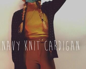 Navy wool cardigan / navy cardigan / wool cardigan / navy floral cardigan / floral knit / womens navy cardigan