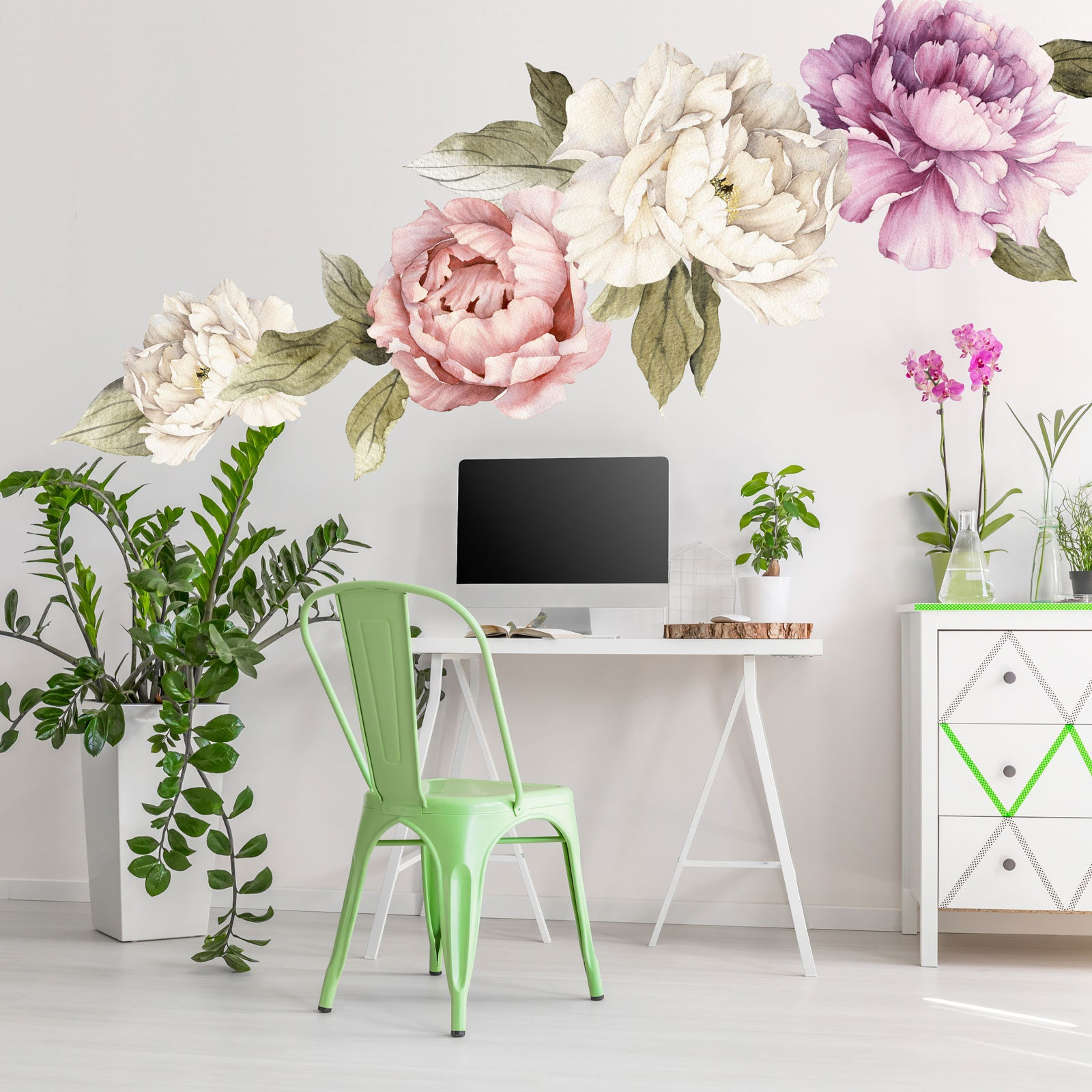 Floral wall mural large peony wall stickers watercolor - Flower wallpaper mural ...