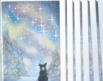 6 x Border Collie dog Christmas holiday cards starry night black and white sheepdog season's greetings from Susan Alison watercolor painting