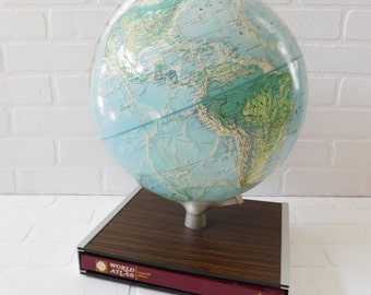 Vintage Rand McNally World Portrait Globe on Book Stand with Book