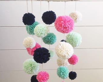 Yarn Pom Pom Baby Mobile, Nursery Mobile, Nursery Decor, Pom Poms, Yarn Mobile