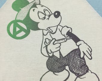 Final Drop price!!! vtg 60s/70s Mickey Mouse Drug addicts  Anarchy Raglan T shirt by Sears RARE.sz L