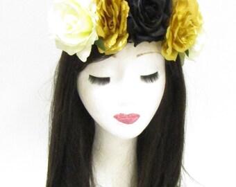 Large Black Gold Rose Flower Sugar Skull Headband Halloween Day of the Dead 793