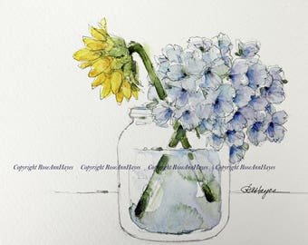 Sunflower and Hydrangea in Jar Print of Watercolor Painting Flowers Floral Wildflower Bouquet Garden Botanical