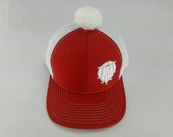 Santa beard hat, Holiday hat, Christmas hat, adult Santa hat, Holiday trucker hat, Christmas party, embroidered Santa hat, Santa hat, Xmas