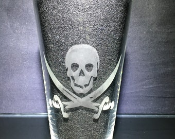 Pirates of The Caribbean, Hector Barbossa's Jolly Roger, Etched Glass, Unique Custom Gift, Gift for Her, Present for Him