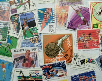 50 Postage Stamps,  Olympic Stamps, Track, Gymnastics, Olympics, Vintage Stamps, Sport Stamps