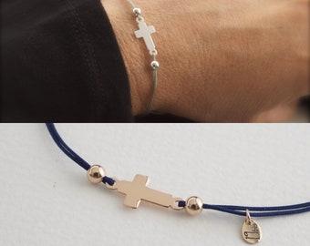 Cross bracelet - sideways cross - adjustable bracelet - religious jewelry - cross cord bracelet