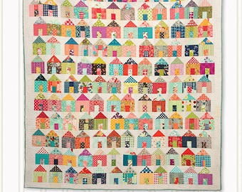 Village Quilt Pattern - Charm Pack Quilt Pattern - House Quilt Pattern - Miss Rosie's Quilt Co - Free Shipping US