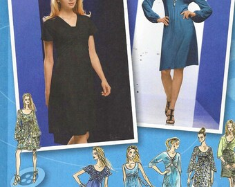 Womens Knit Dress with Bodice & Sleeve Variations OOP Simplicity Sewing Pattern 2883 Size 14 16 18 20 22 Bust 36 to 44 UnCut Project Runway