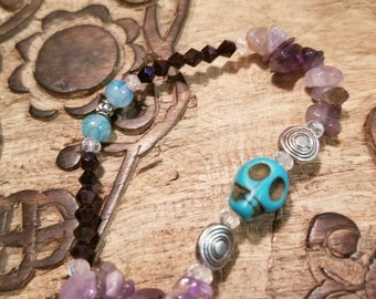 Turquoise and Amythest Skull Bracelet